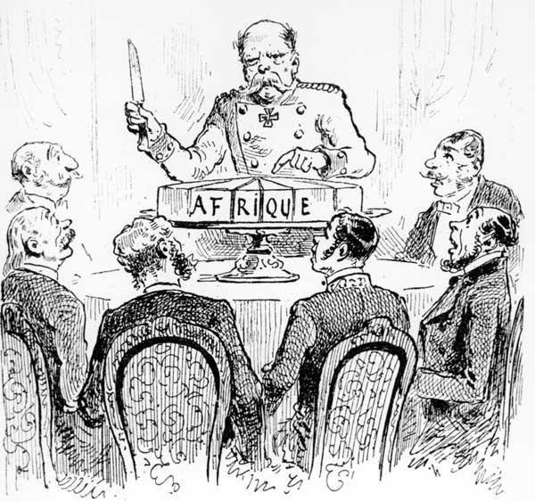 Le «gâteau africain» Caricature de Bismarck La conférence de Berlin. (©AKG)